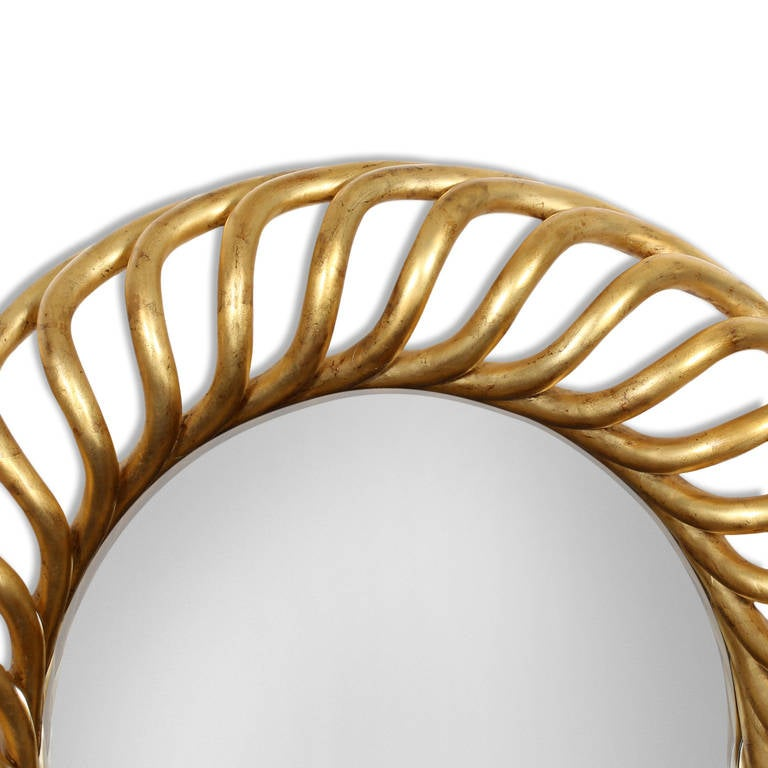 Large round gold gilt mirror for sale at 1stdibs for Large round gold mirror
