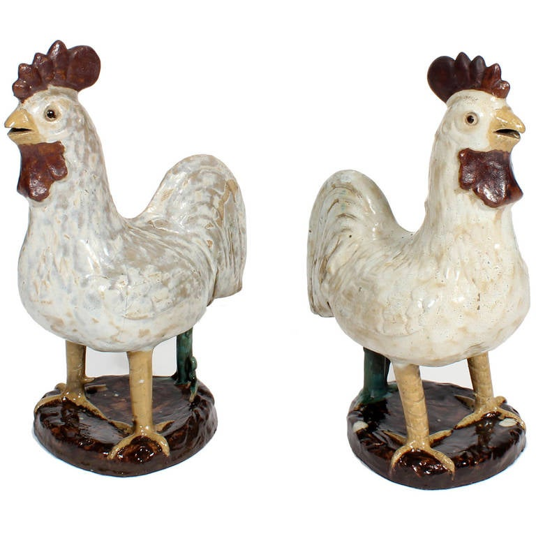 Pair of French Country Terra Cotta Folk Art Pottery Roosters For Sale