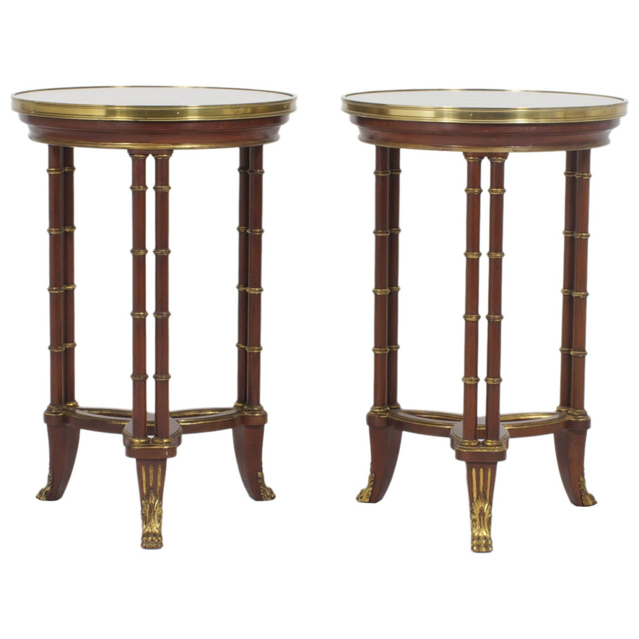 Pair of Round Faux Bamboo with Brass Accents Tables