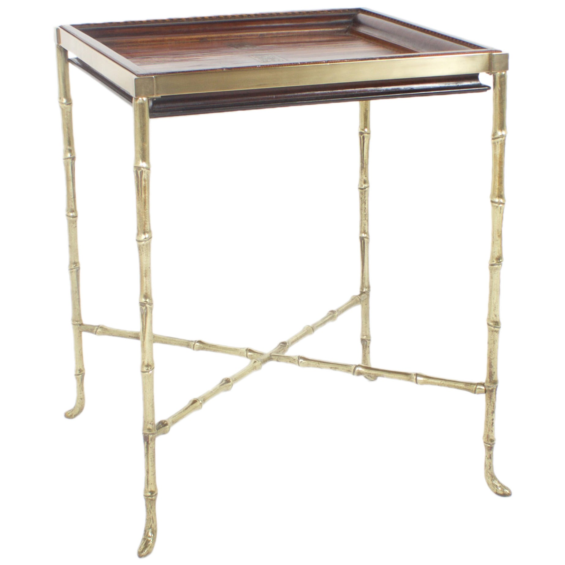 Faux Bamboo Brass and Wood Games Table