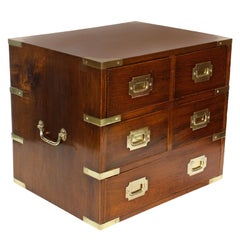 A Large Mahogany Campaign Style Jewelry Chest