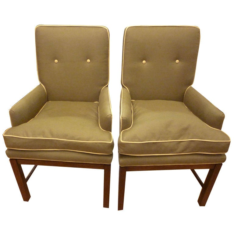 Pair of baker of upholstered arm chairs for sale at 1stdibs for Small club chairs upholstered