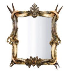 Large and Exotic Rustic and Ormolu-Mounted Horn Mirror