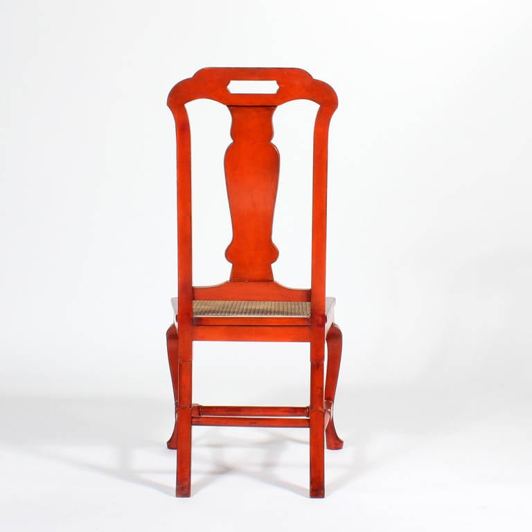 Mid-20th Century Set of Six Red Chinoiserie Decorated Georgian Style Dining Chairs For Sale