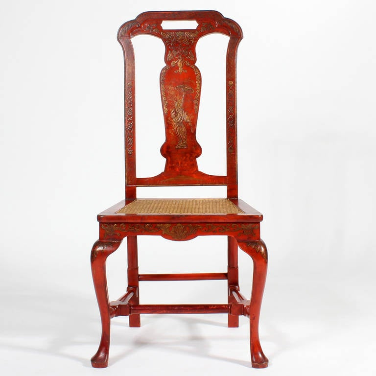 English Set of Six Red Chinoiserie Decorated Georgian Style Dining Chairs For Sale
