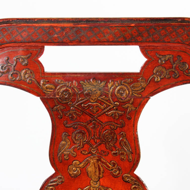 Set of Six Red Chinoiserie Decorated Georgian Style Dining Chairs For Sale 1