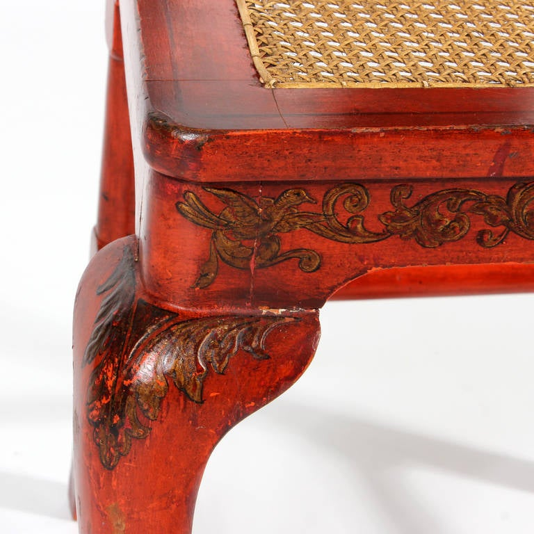 Set of Six Red Chinoiserie Decorated Georgian Style Dining Chairs For Sale 4