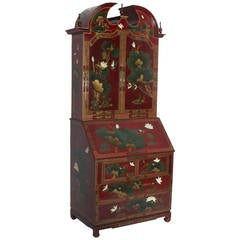 Red Lacquer Chinoiserie Decorated Secretary