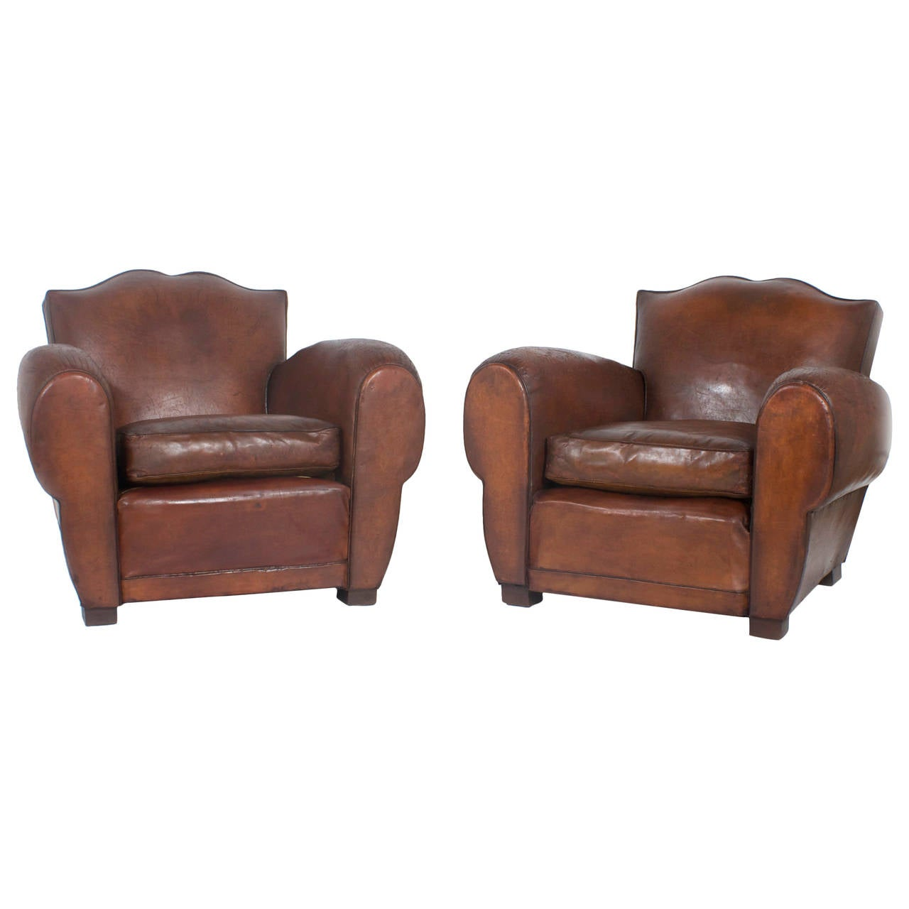 Pair Of French Leather Club Chairs At 1stdibs