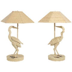 Pair of Mario Torres Egret Table Lamps