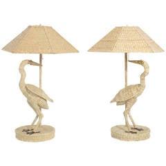 Pair of Mario Torres Egret Table Lamps