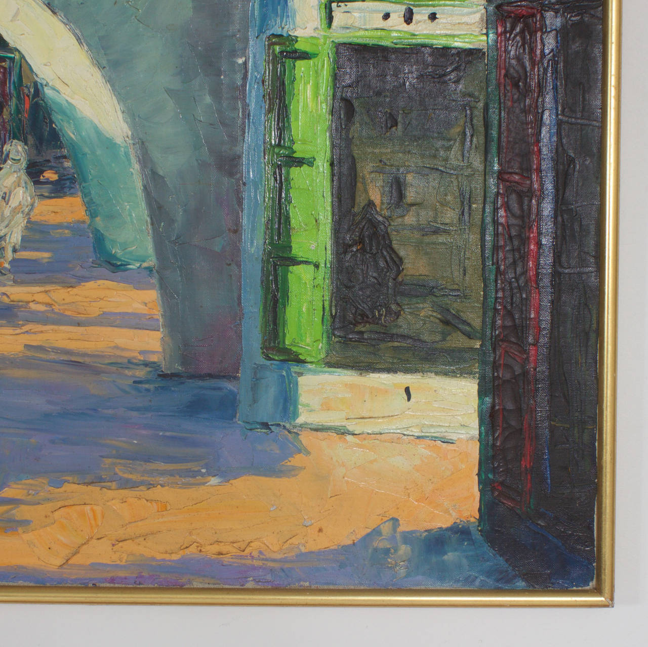 Middle Eastern Building Painting In Good Condition For Sale In Palm Beach, FL