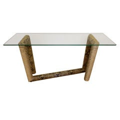 Rare Python Snake and Glass Console Table
