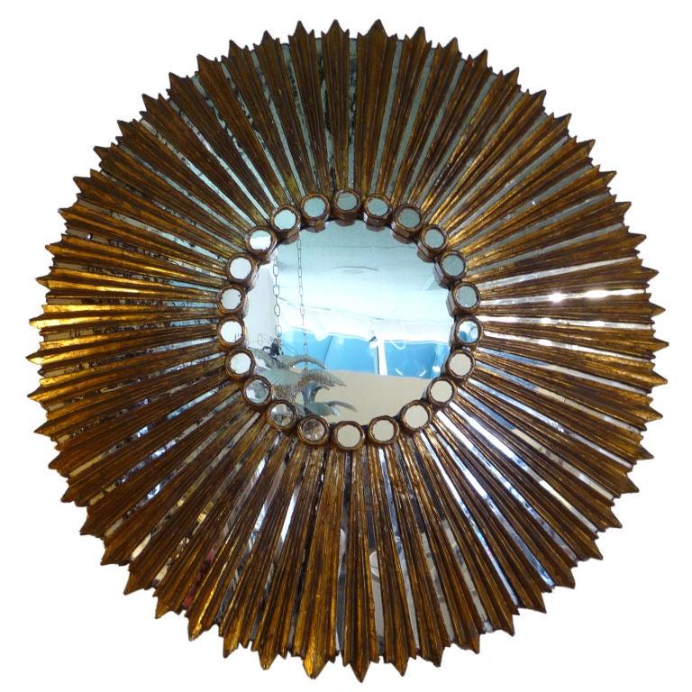 Large round sunburst gilt and carved mirror for sale at for Large round mirrors for sale