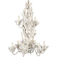 Large Two Tiered Faux Coral Chandelier