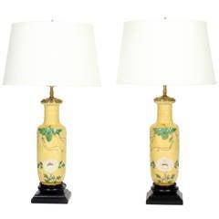 Pair of Chinese Wang Bing Rong Vase Lamps