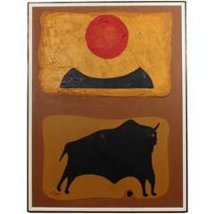Modernist Bull and Sun Oil on Canvas Painting