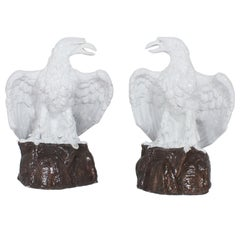 Large Pair of Majolica Terra Cotta Eagles