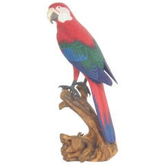 Carved and Painted Red Parrot