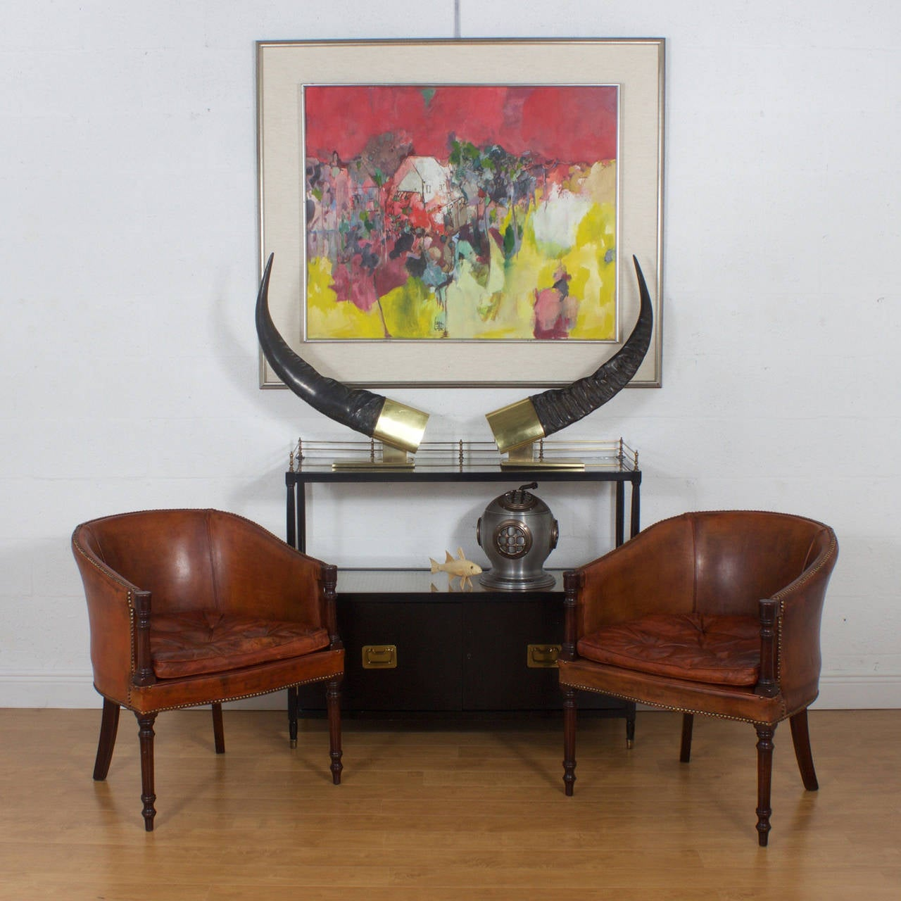 Pair Of Brown Leather Classic Tub Chairs At 1stdibs