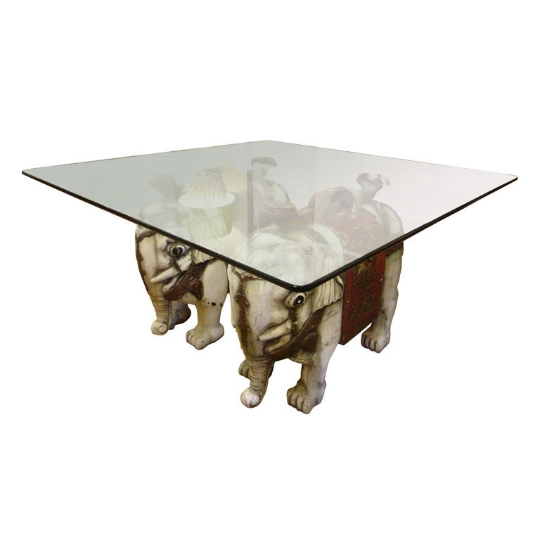 Carved and painted elephant coffee or cocktail at 1stdibs Elephant coffee table