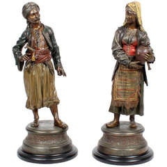 Pair of Exceptional Large Orientalist Cold Painted Spelter Arabian Figures
