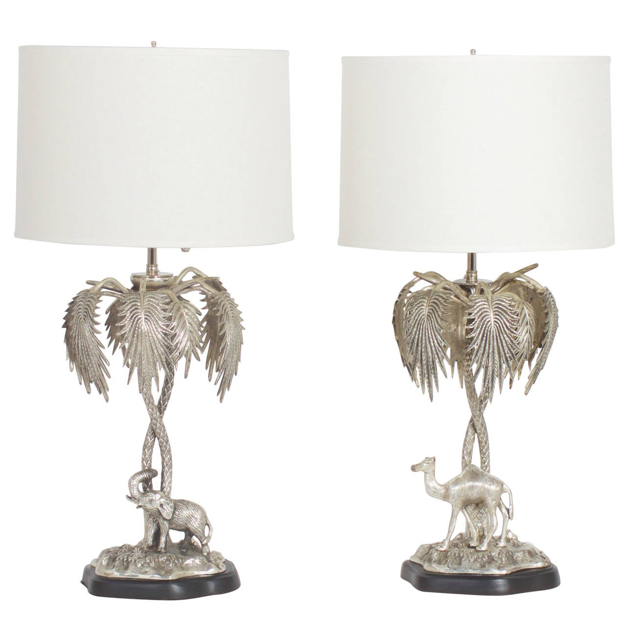 Stacked elephant lamp - Pair Of Silvered Metal Palm Tree Lamps With Camel And Elephant 1