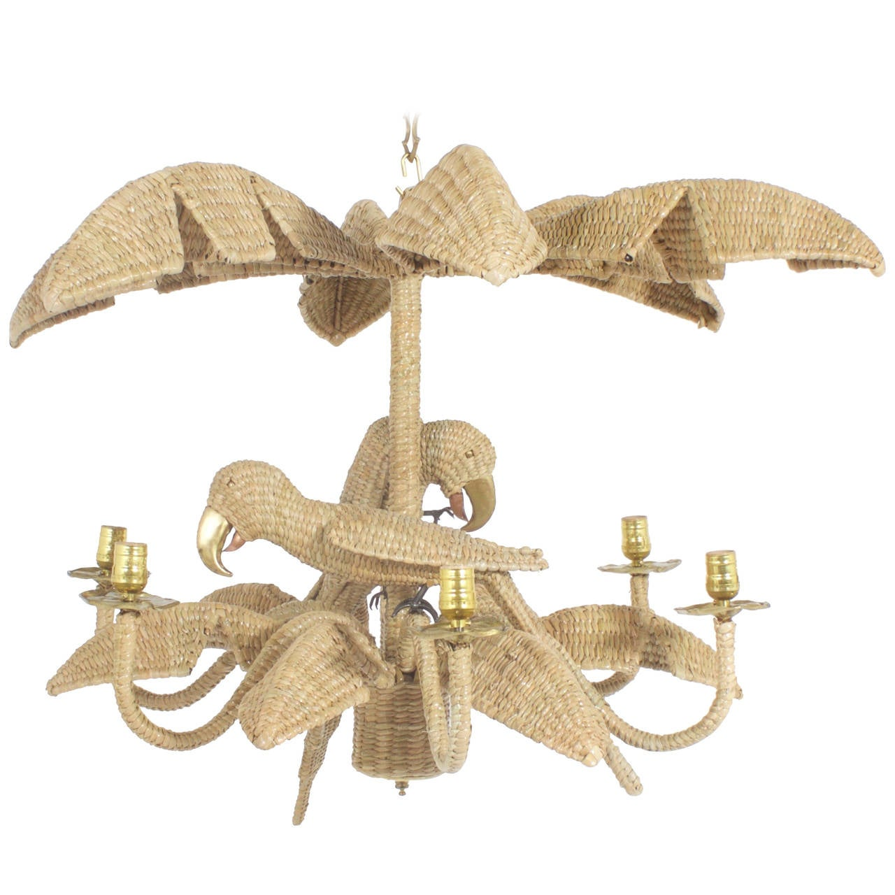Mario Torres Wicker Parrot Chandelier For Sale