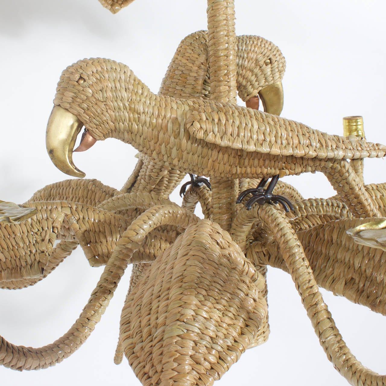 Organic Modern Mario Torres Wicker Parrot Chandelier For Sale