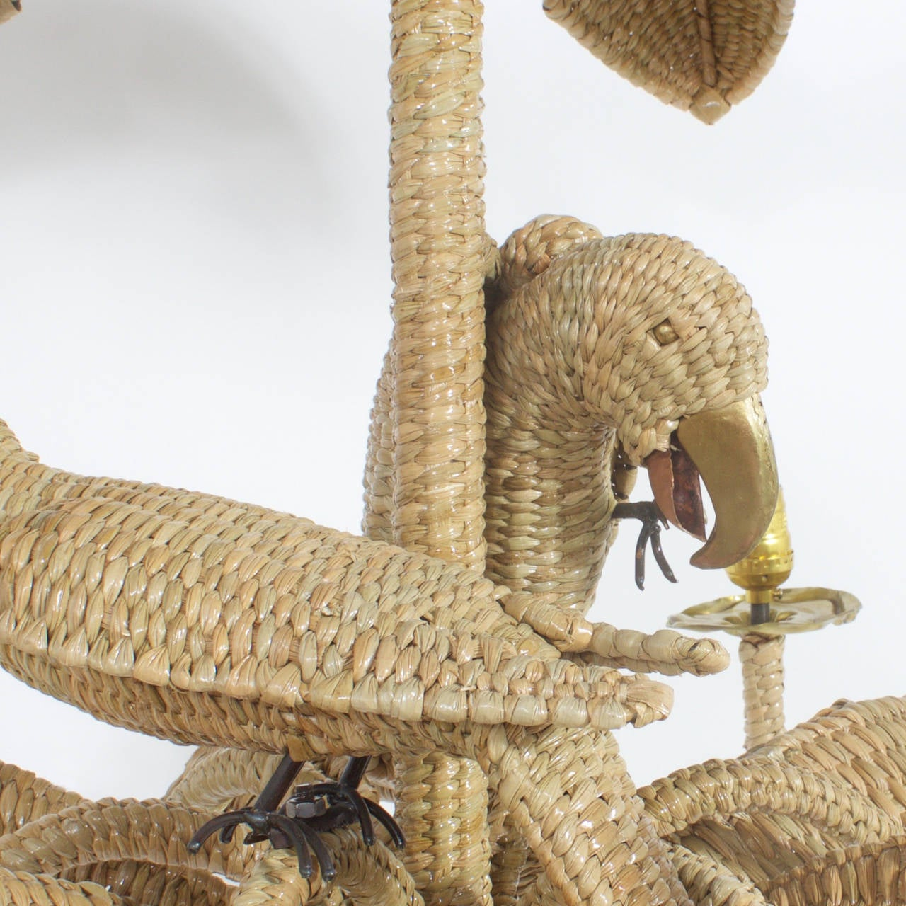 Mexican Mario Torres Wicker Parrot Chandelier For Sale