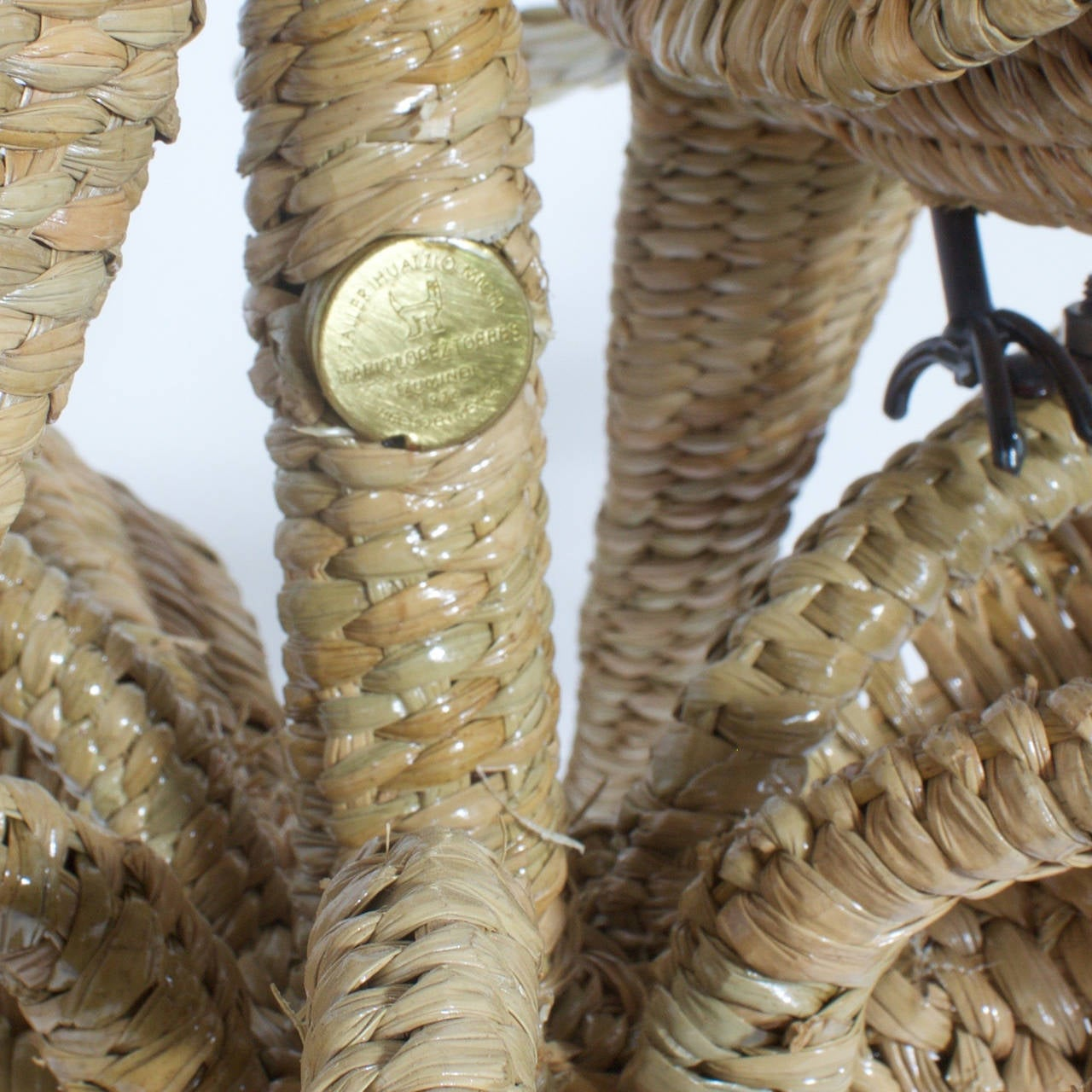 20th Century Mario Torres Wicker Parrot Chandelier For Sale