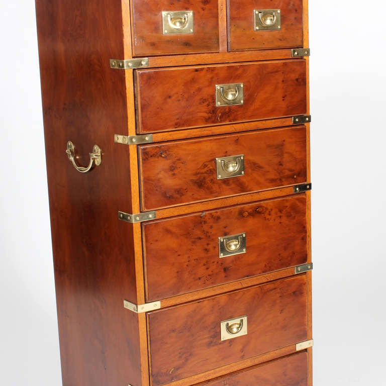 7 drawer tall campaign chest at 1stdibs. Black Bedroom Furniture Sets. Home Design Ideas