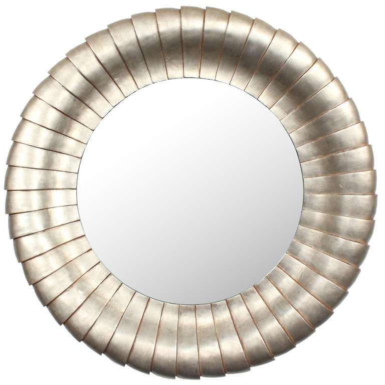 Large round silver gilt mirror at 1stdibs for Large silver modern mirror