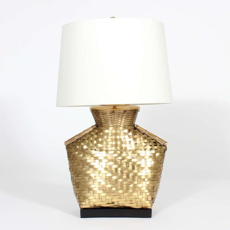 Woven Basket Lamp : Pair of hand woven brass basket form lamps at stdibs