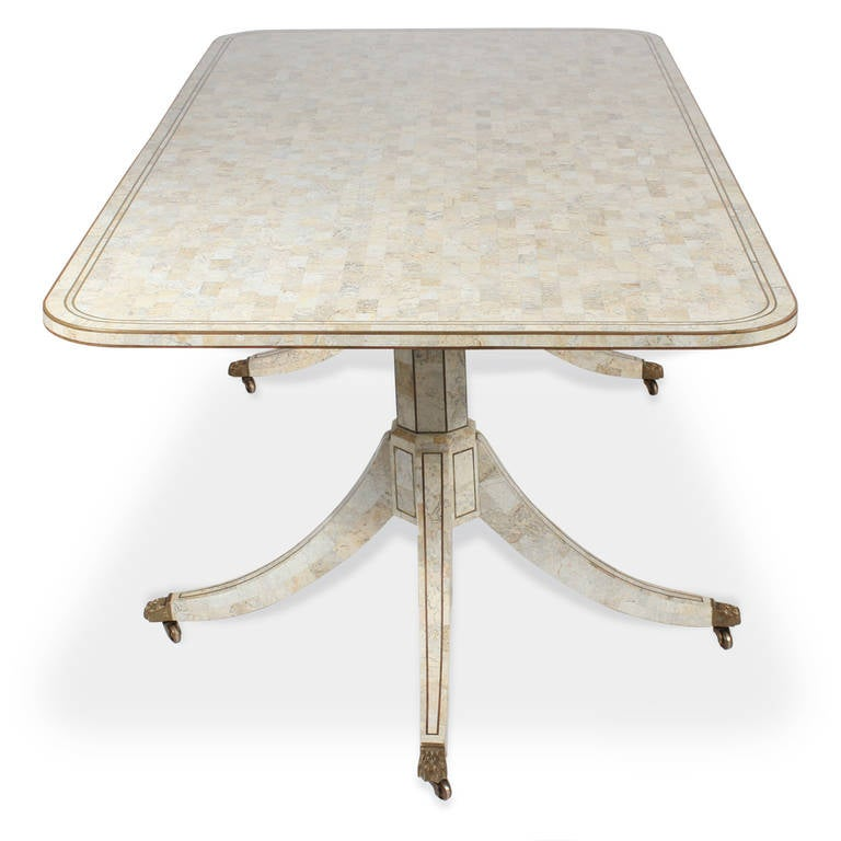 Tessellated Marble Doubl Handmade Pedestal Dining Table By Maitland Smith At