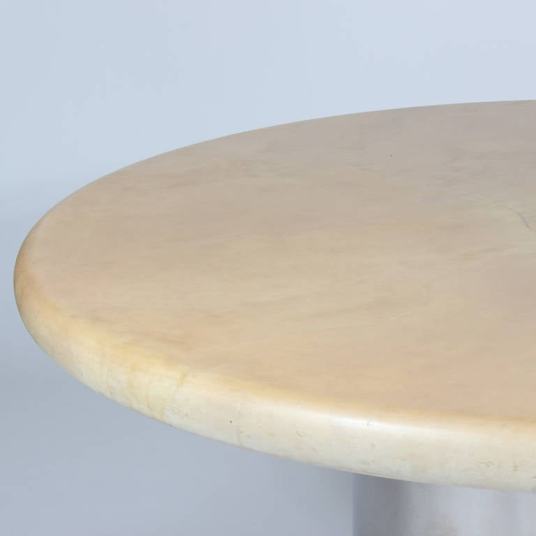 Labeled Karl Springer Lacquered Goatskin Dining Table In Excellent Condition For Sale In Palm Beach, FL