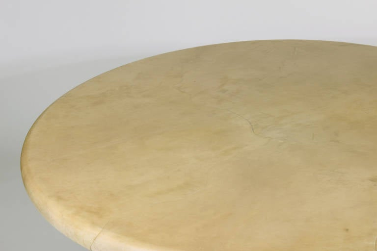 Late 20th Century Labeled Karl Springer Lacquered Goatskin Dining Table For Sale