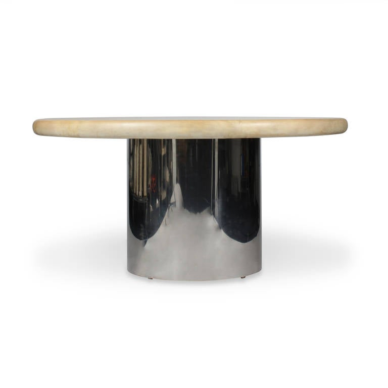 American Labeled Karl Springer Lacquered Goatskin Dining Table For Sale