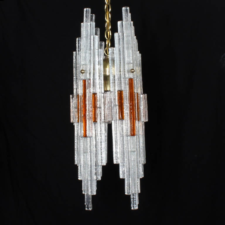 Late 20th Century Mid Century Italian Modern Art Glass Chandelier For Sale