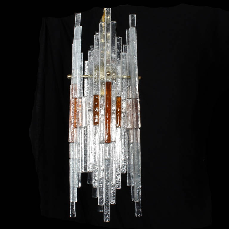 Mid Century Italian Modern Art Glass Chandelier In Good Condition For Sale In Palm Beach, FL