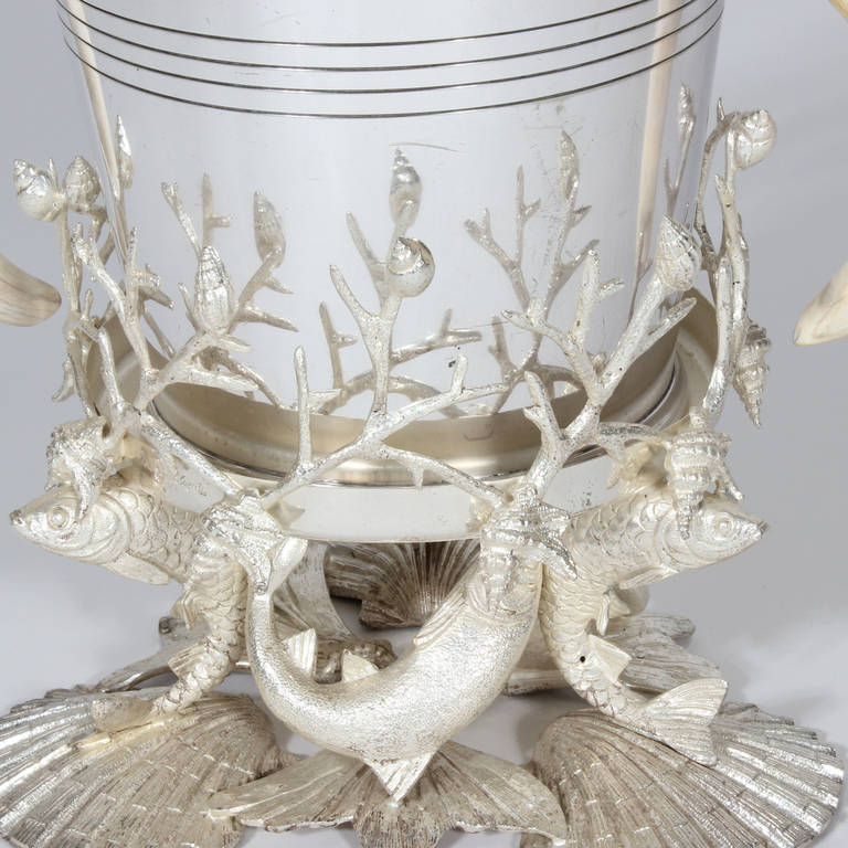 Silver Plated Sea Life And Faux Tusk Ice Bucket For Sale
