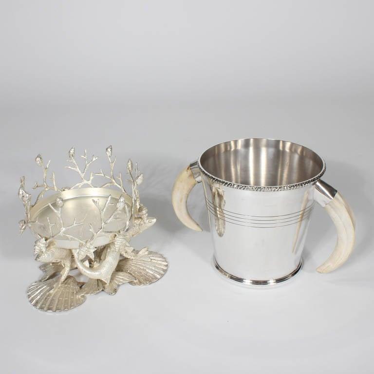Silver Plated Sea Life And Faux Tusk Ice Bucket At 1stdibs