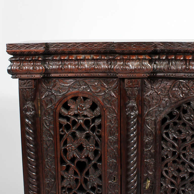Well Carved Anglo Indian 3 Door Sideboard Or Console At