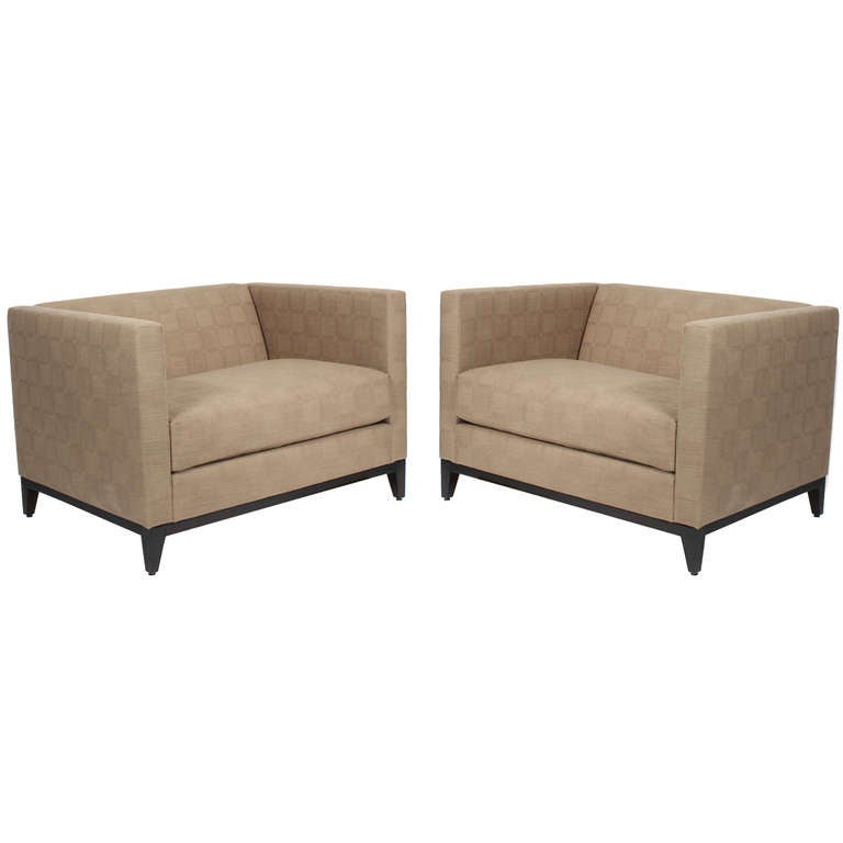 Pair of Sophisticated Mid-Century Modern Low Back Lounge or Club Chairs