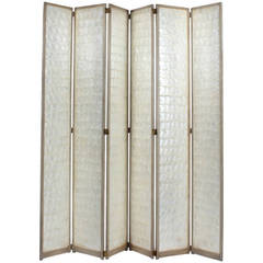 Early to Mid-20th Century Six-Panel Capiz Folding Screen