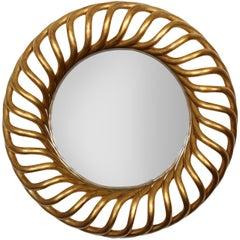 Large Round Gold Gilt Mirror