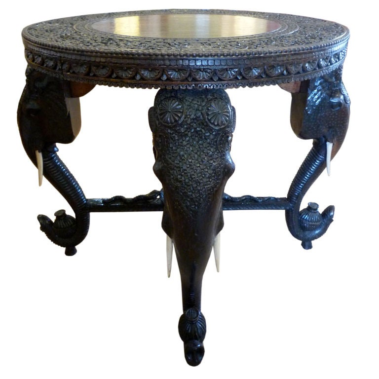 rare 19th c anglo indian carved elephant head table at