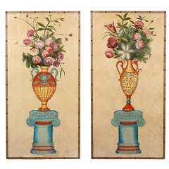 Pair of Large Painted Screen Panels