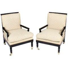 Pair Spool Turned Armchairs