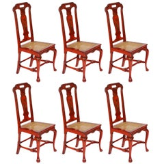 Set of Six Red Chinoiserie Decorated Georgian Style Dining Chairs